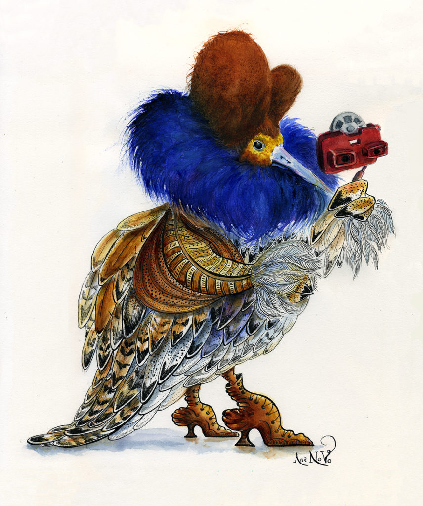 Ilustración realizada por la ilustradora Ana Novo. Colección fauna vintage